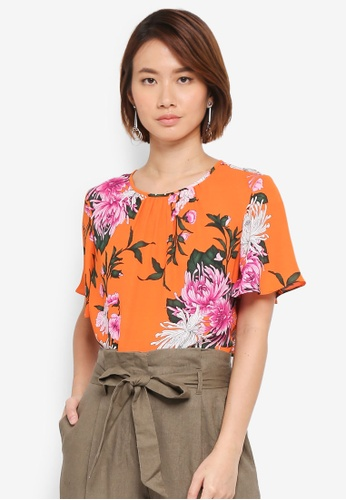 WAREHOUSE orange Floral Print Angel Sleeve Tee 31276AA0A73092GS_1