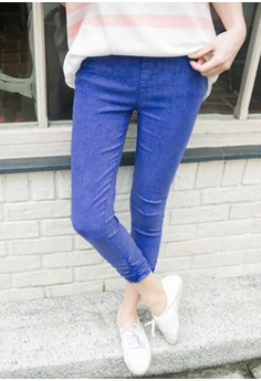 [IMPORTED] Wrinkly Casual Cropped Trousers - Navy