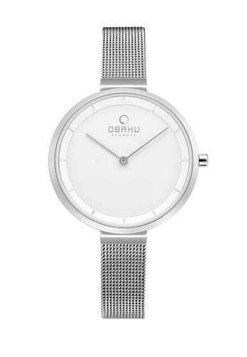 OBAKU grey Women's Analogue Quartz Watch in White Dial and Grey Mesh Band 623CFACBE981B0GS_1