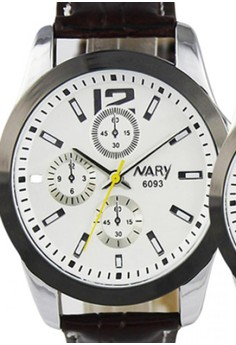 NARY Couple Classic Leather Quartz Watch - 6093