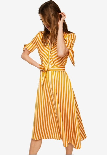 Mango yellow Striped Bow Dress 68BDEAA0E6684DGS_1