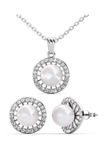 Her Jewellery silver Swarovski® Crystals -Chloe Pearl Set (18K White Gold Plated) Her Jewellery HE581AC0RCC9MY_1