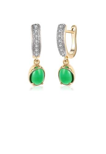 Glamorousky white Elegant Romantic Geometric Round Green Cubic Zircon Earrings A6CC4ACF82550BGS_1