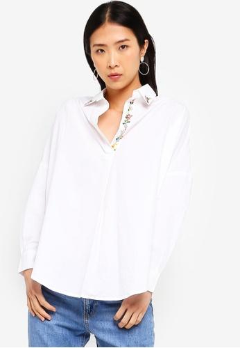95e86ebffdc French Connection white Rhodes Poplin Popover Shirt 21B0EAA92231E0GS_1