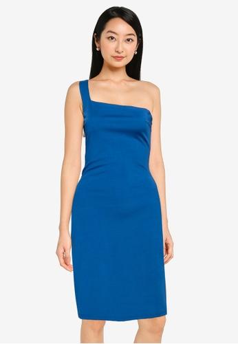 ZALORA BASICS blue One Shoulder Bodycon Dress CD97CAA5CB901BGS_1