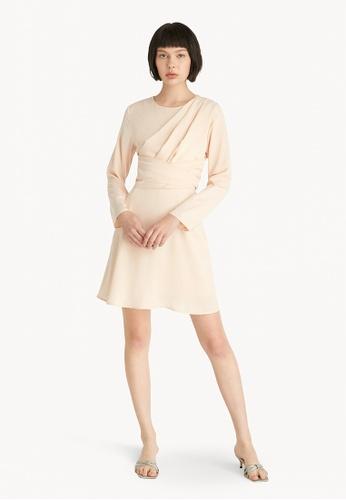 Pomelo beige Mini Longsleeved Bow Tie Dress - Cream 76690AA118A96DGS_1