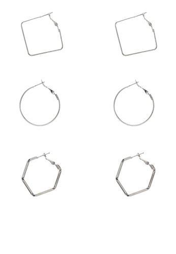 Pieces silver 3 Packs Janne Hoop Earrings C9D53ACB7FEAA7GS_1