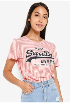 b906f4ff Superdry white and orange Vintage Logo Stripe Entry Tee F7131AACCBB208GS_1
