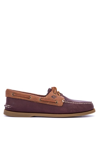 Sperry brown and red A/O 2-Eye Daytona Boat Shoes 9CB36SH95FAFE3GS_1