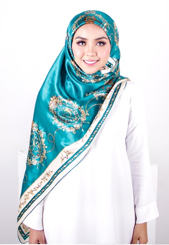 FATIMÉ white and green and gold Big Square Renaissance (Turquoise) BCF32AAAC8068BGS_1