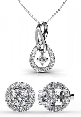 Her Jewellery silver Swarovski® Crystals - Dylis Set (18K White Gold Plated) Her Jewellery HE581AC0RESKMY_1