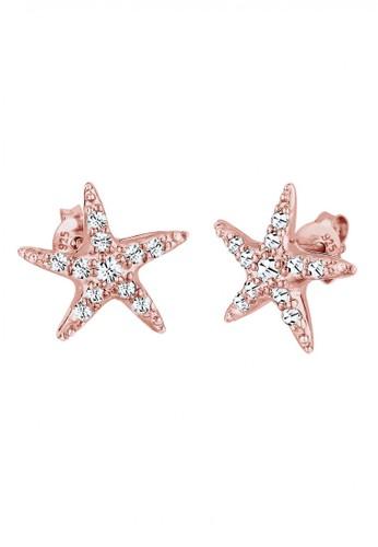 Elli Germany gold 925 Sterling Silver Anting Starfish Swarovski® Crystals Rosegold 0F5DAAC8B817D8GS_1