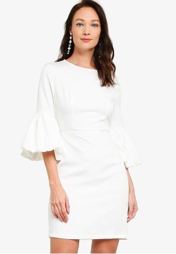 ZALORA OCCASION white Lantern Sleeve Dress 377C8AAB6F2A9EGS_1