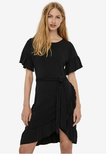 Vero Moda black Poppy Short Sleeve Tie Short Dress BC21CAA8E4E11DGS_1