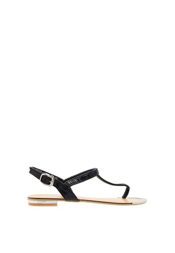 SEMBONIA black Women Synthetic Leather Flat Sandal 68EAESHC45B3F4GS_1