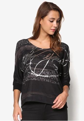 Suzel 燙金文字印esprit 品牌花TEE, 服飾, 上衣