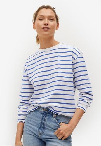 Mango blue Striped Cotton T-shirt 4AB40AAC4D780EGS_1