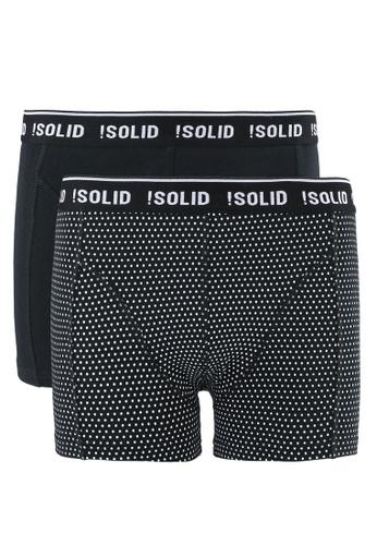 !Solid black Jeffery Cotton Stretch Trunks 2 Pack SO701US0RU6KMY_1