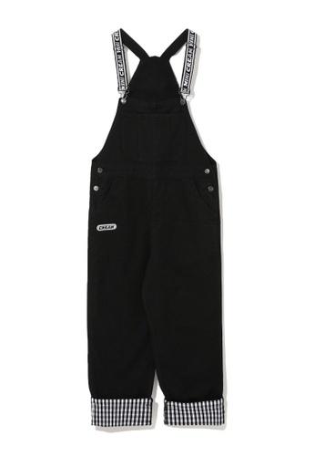 Mini cream black Check cuffs dungaree pants 3A4B6AAA3C5CAEGS_1