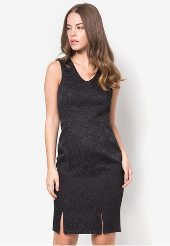 提花V 領連身裙, 服esprit tw飾, 洋裝