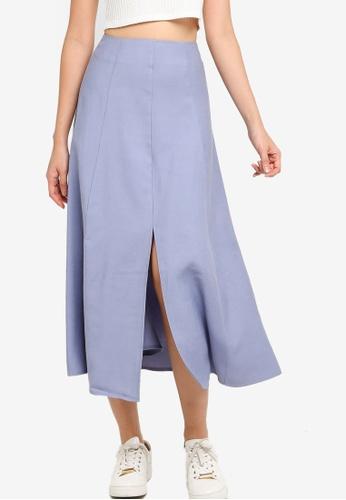 ZALORA BASICS blue High Waist Midi Skirt With Central Slit 4114DAA665983FGS_1