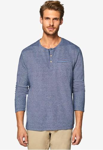 ESPRIT navy Long Sleeve Henley T-Shirt 095B9AA8768D48GS_1