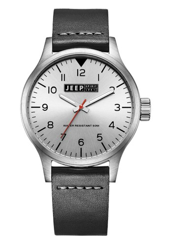 Jeep Spirit Men's Watch JPS50101 Silver Black Leather