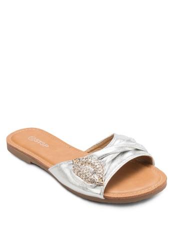 亮面閃石esprit outlet台北褶飾寬帶涼鞋, 女鞋, 懶人鞋