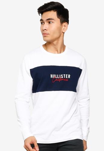 Hollister white Iconic Tech Logo Blocking T-Shirt BC41FAA49F3FF6GS_1