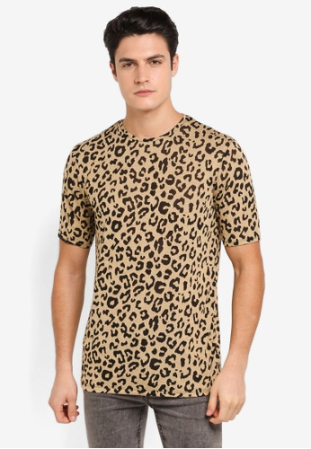 Topman brown Brown Leopard Print Mesh T-Shirt TO413AA0T1NQMY_1