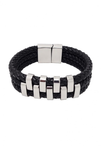 Jaysa Collection black Chic Industrial Men's Stainless Steel Plates Thick Leather Bracelet JA875AC15FQMSG_1