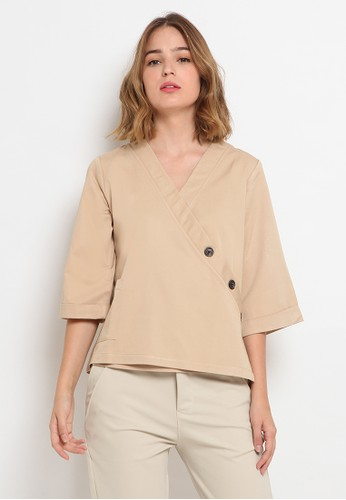 The Executive beige Kimono Blouse With Button 7E714AA141B1D7GS_1