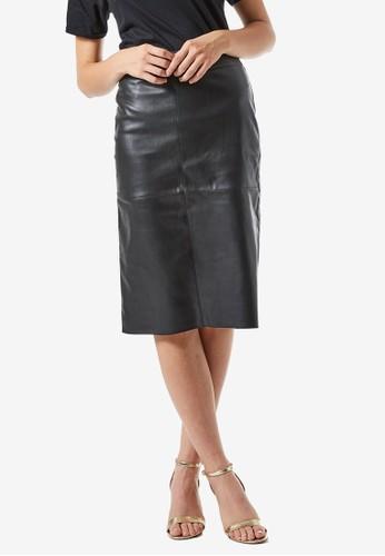 Dorothy Perkins black Black PU Midi Skirt 71EACAAECD70AEGS_1