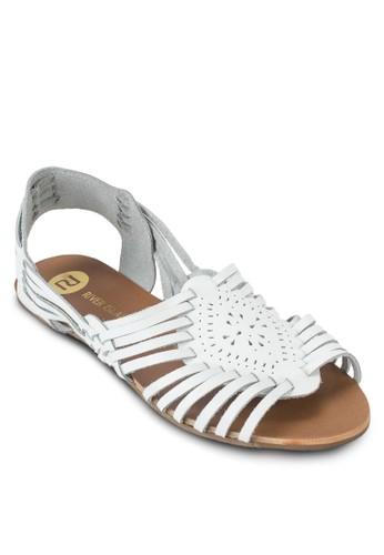 皮革多帶平底涼鞋, esprit門市地址女鞋, 鞋