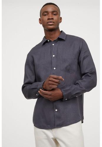 H&M blue Regular Fit Linen shirt 6CCB4AA1B291DCGS_1