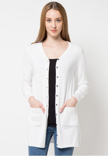 Noir Sur Blanc white Ladies Long Cardigan With Pocket NO321AA69DNQID_1