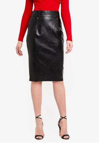 LOST INK black Pu Chevron Pencil Skirt 7D1A9AA88C900FGS_1