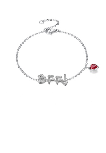 Glamorousky white 925 Sterling Silver Simple and Fashion Letter BFF and Red Heart Bracelet with Austrian Element Crystal 38DC5AC92DC31AGS_1