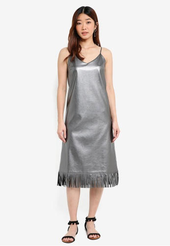 Something Borrowed grey Metallic Fringe Cami Dress 9CC39AA414D5CCGS_1