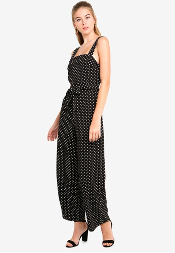 5b1f32fceba Miss Selfridge black Spot Tie Pinny Jumpsuit 6B99CAAD37C044GS 1