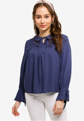 Lubna navy Pleated Blouse Made From TENCEL™ 60757AA48E7F43GS_1