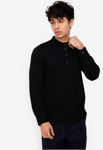 ZALORA BASICS black Long Sleeve Henley Tee A532EAAF280799GS_1