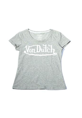 Von Dutch grey Von Dutch Classic Logo Grey Skinny Tee Shirt D9378AAE495D61GS_1