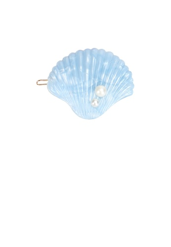 Glamorousky white Simple and Sweet Light Blue Shell Imitation Pearl Hair Clip 999C3AC21EE295GS_1