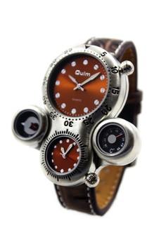 OULM Big Morgan Leather Strap Watch 1149