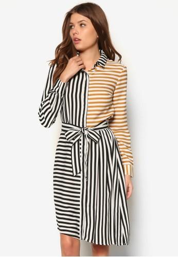 Akerman 撞色條紋長袖連身裙,zalora 包包 ptt 服飾, 正式洋裝