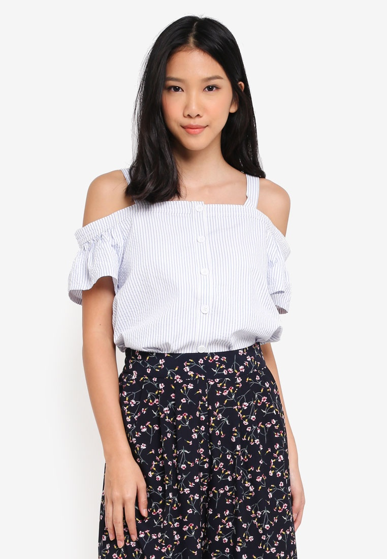 632a7a59220bae Button White Top Blue Down ZALORA Stripes Cold Shoulder With UxwfqfTPCd ...