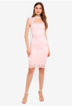 c6dcbc92faf6 5% OFF Goddiva High Neck Cut Out Lace Midi Dress S$ 73.90 NOW S$ 69.90  Sizes 8 10 12 14 16