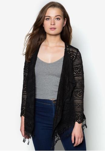 流蘇蕾絲透膚外套, 服飾, 夾克zalora 鞋評價 & 大衣