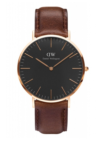 Daniel Wellington gold and brown Classic Black Bristol Watch 40mm DA376AC90NBDMY_1